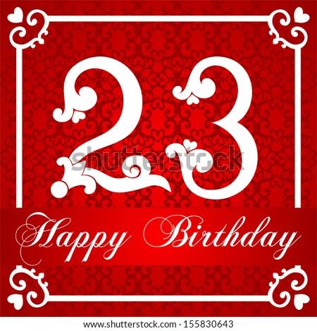 Happy Birthday Card Number Twenty Three Vector 152544479 – 23 Birthday Cards