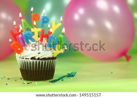 Happy Birthday Celebration Candles On Cake Stock Photo 609788642