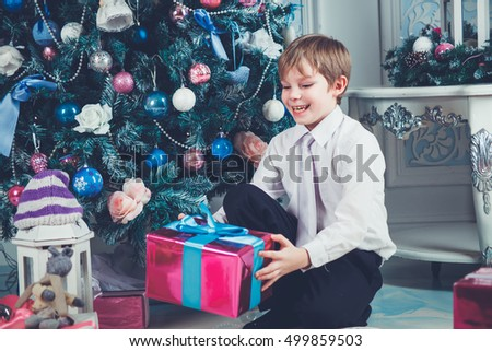 Happy boy with christmas tree and gift