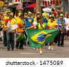 Happy brazil supporters at World Cup Match - stock photo