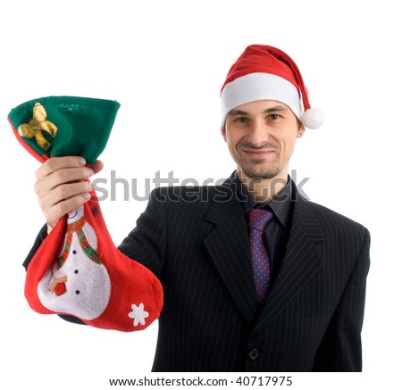 happy business man in a christmas hat with a Christmas Stocking
