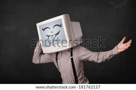 Happy business man with a computer monitor screen and a smiley face