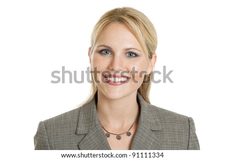 Happy business woman portrait isolated on white