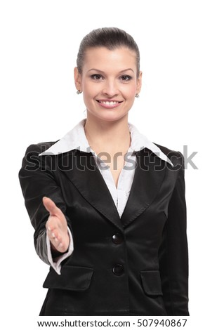Happy  businesswoman in suit giving hand for handshake.
