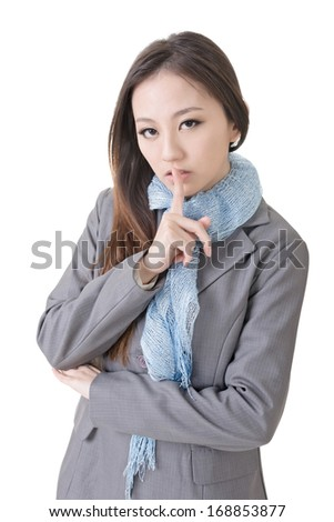 Happy businesswoman with silent gesture, closeup up portrait of oriental office lady.