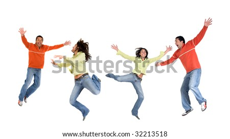 happy casual couple jumping isolated over white
