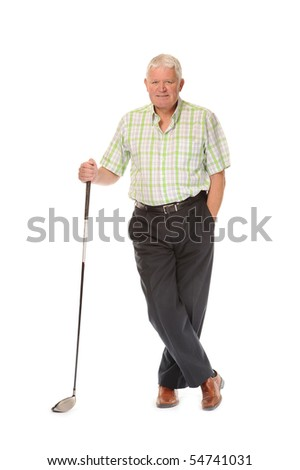 Happy casual mature man on white background, with golf club