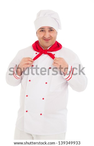 happy chef wearing red and white uniform over white background