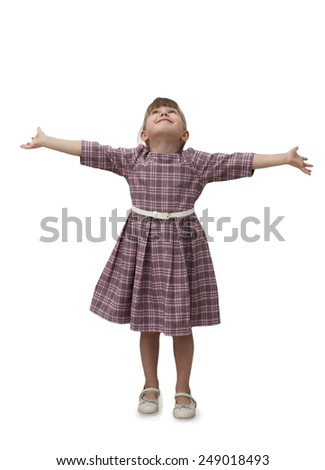 Happy child looking up arms spread wide on white background