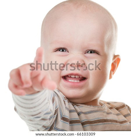 happy child shows his hand forward