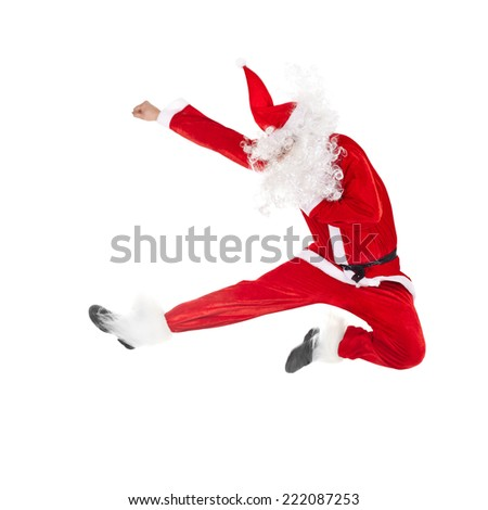 Happy Christmas Santa Claus jumping isolated on white background