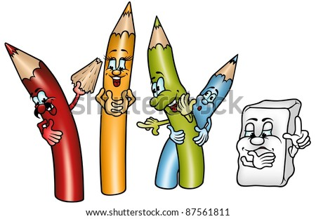 happy crayons colored cartoon illustration - Cartoon Pictures Of Crayons