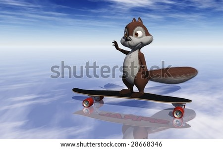 Happy 3D squirrel on skateboard waving