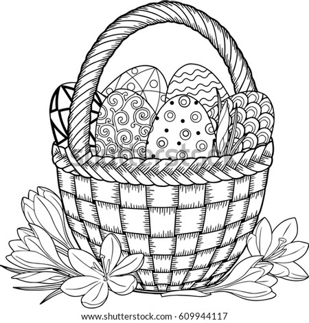 Happy Easter Black And White Doodle Eggs In The Basket Coloring Book For