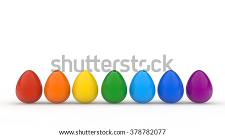 Happy easter poster, rainbow colored realistic eggs, white background, holiday card, isolated object
