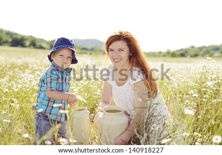 happy family in the field