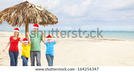 Happy family in tropical ressort. Holiday vacation background.