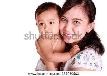 Happy family portrait of beautiful mom and her baby daughter, isolated on white background