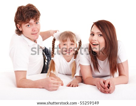 Happy family with  child. Isolated.