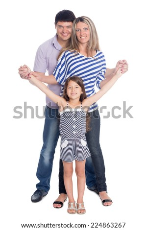 Happy father and mother with her daughter in full length isolated on white background