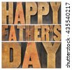 happy father's day greetings - isolated word abstract in antique wood letterpress printing blocks - stock photo