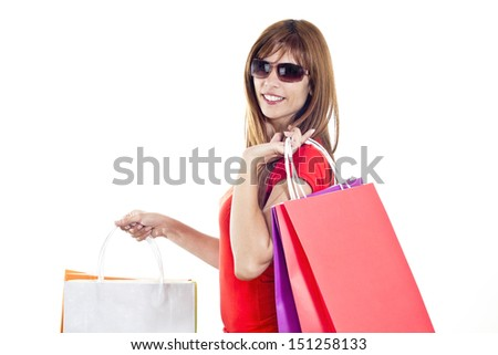 happy girl shopping isolated on white background