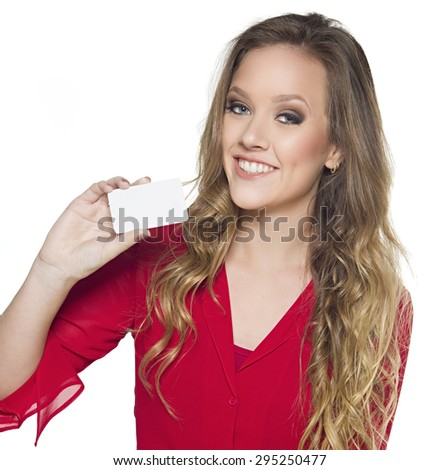 happy girl with business card over white