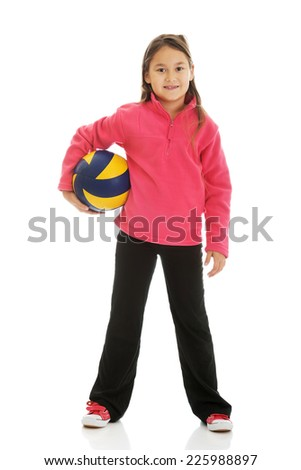 Happy girl with voleyball ball