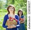 Happy girls with apples harvest in garden - stock photo