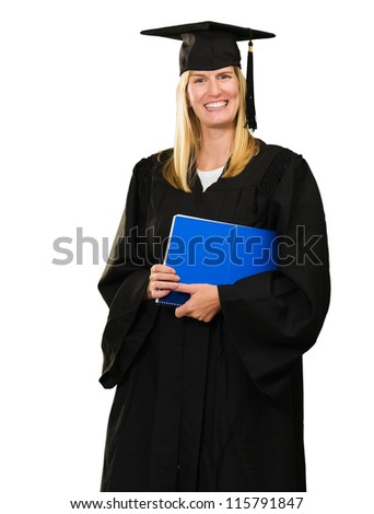 Happy Graduate Woman Holding a notebook On White Background
