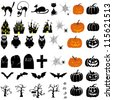 Happy Halloween theme icon set. Raster version. - stock vector