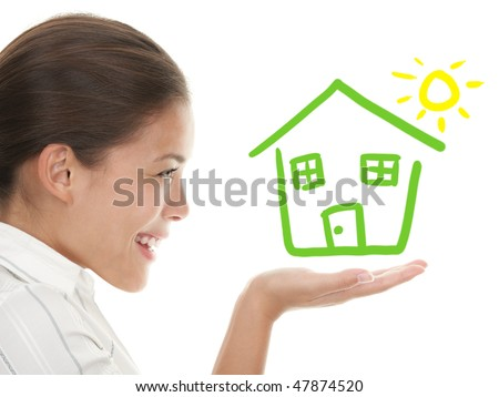 Happy house buyer / owner concept or woman dreaming of a house. Illustration and photo composite. Mixed chinese caucasian woman in profile isolated on white background.