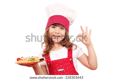 happy little girl cook with spaghetti and ok hand sign