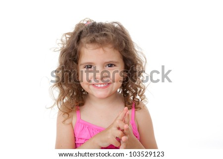 happy little girl kid with beautiful smiling face counting with fingers