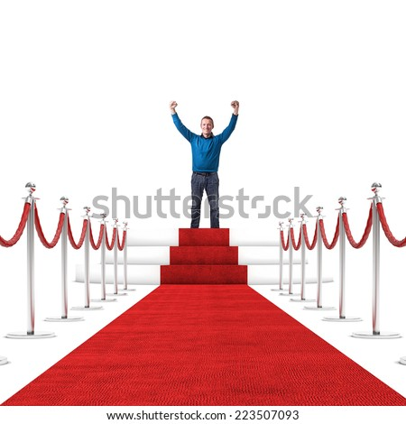 happy man and red carpet