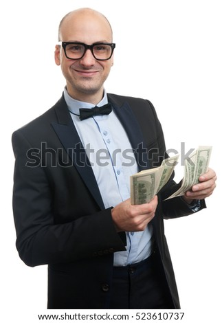 happy man counts money isolated on white background