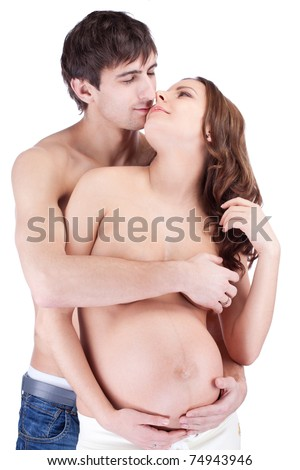 Happy man embrace pregnant woman, isolated portrait