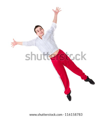 Happy man jumping against isolated white background
