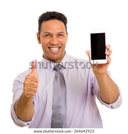 happy middle aged man holding cell phone and giving thumb up