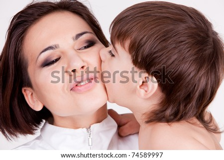 Happy  mother and son, closeup portrait