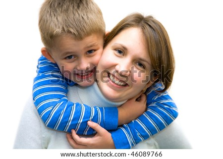 Happy mother and son enjoying a white background