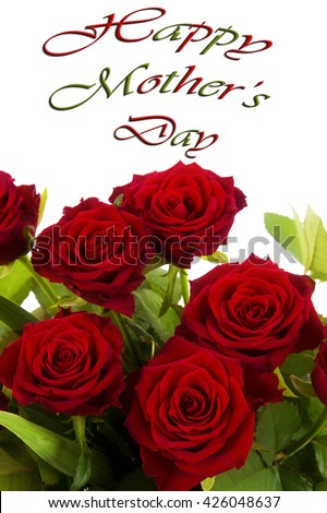 Happy Birthday Card Concept Red Roses Stock Photo ...