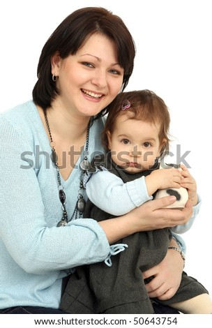 Happy mother with little daughter on white background