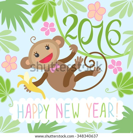 Happy new year greeting card 2016 with cute monkey