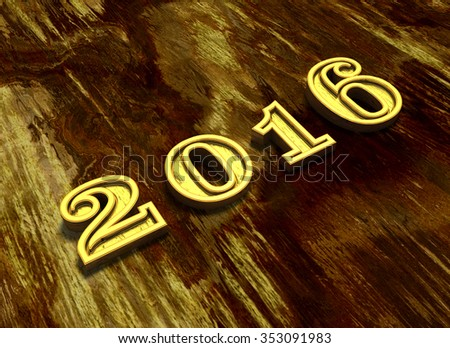 Happy New Year 2016 illustration at wooden background