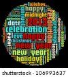Happy New Year in word collage - stock vector