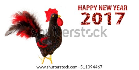 Happy New Year 2017 on the Chinese calendar of rooster template card with hand made craft red rooster and decorated text design polygonal font. Isolated on white background. Copyspace place for text.