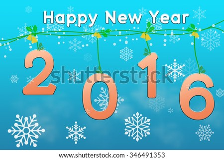 Happy New year, Orange Text on Blue Background.