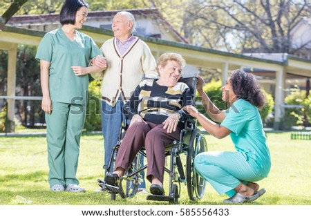 Many Seniors Relaxing Park Nursing Home Stock Photo 127260128