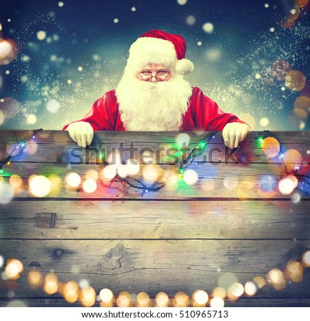 Santa Claus Magic Gift His Hands Stock Photo 524054182